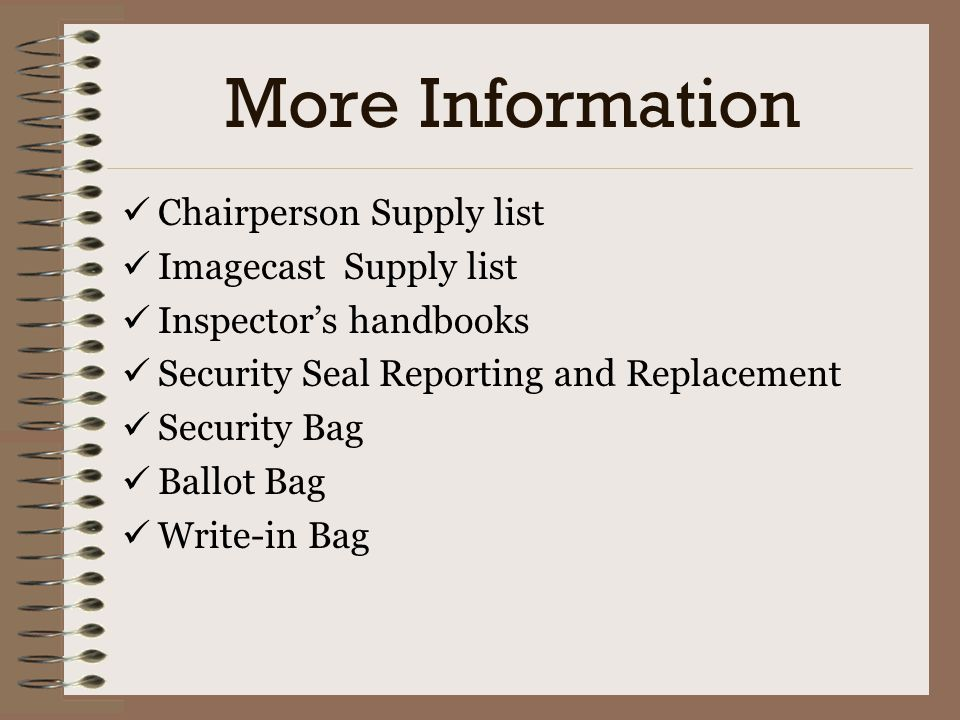 More Information Chairperson Supply list Imagecast Supply list