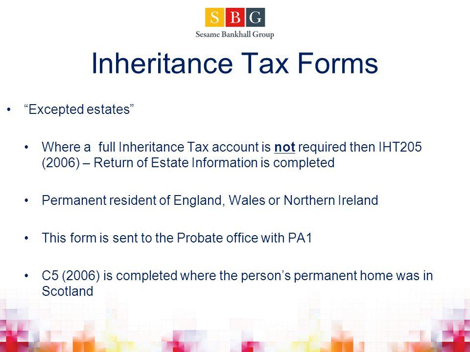 Inheritance Tax Forms Excepted estates