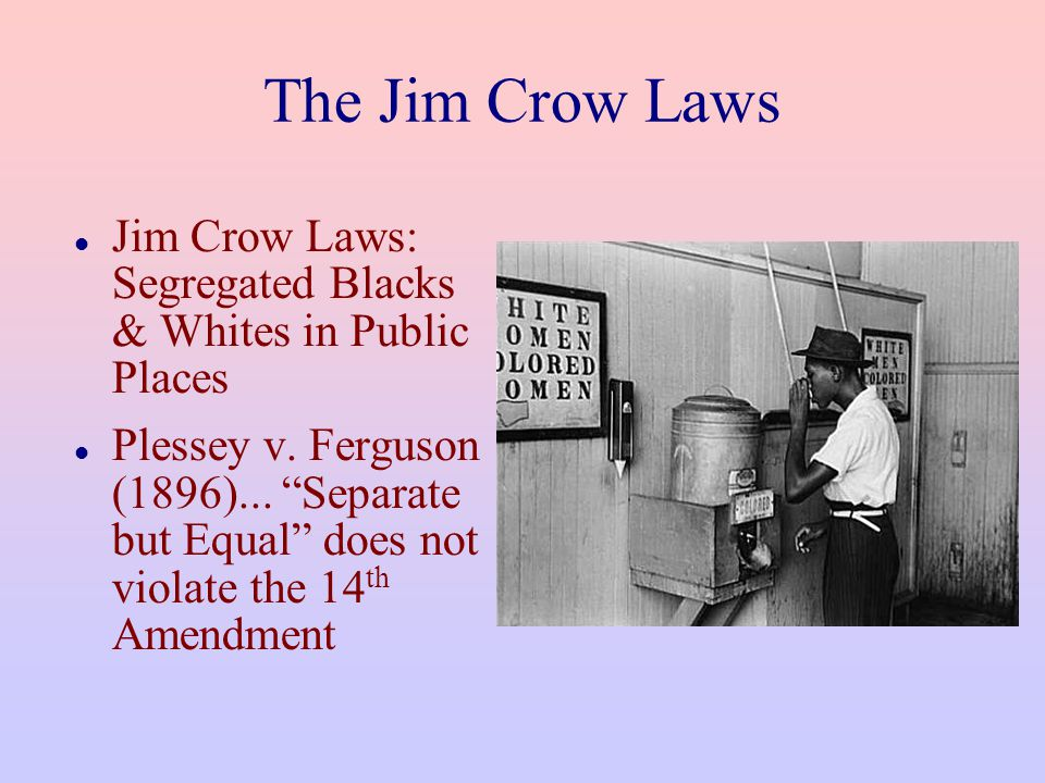 The Jim Crow Laws Jim Crow Laws: Segregated Blacks & Whites in Public Places.
