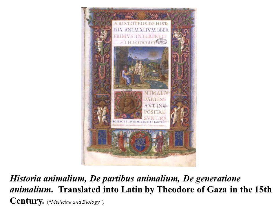 Historia animalium, De partibus animalium, De generatione animalium