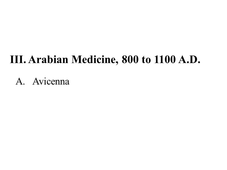 III. Arabian Medicine, 800 to 1100 A.D.