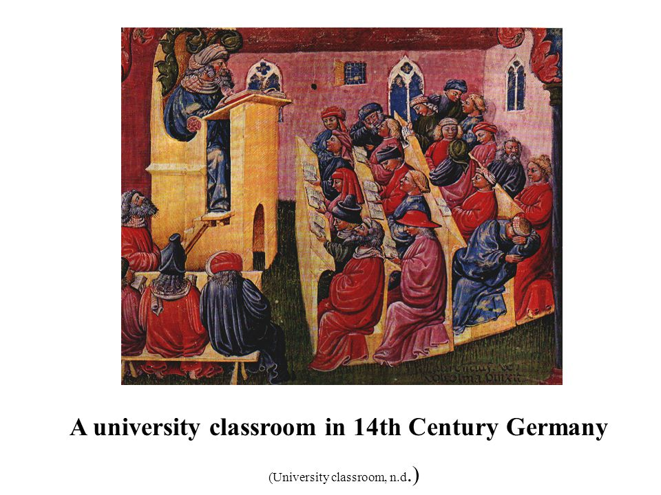 A university classroom in 14th Century Germany