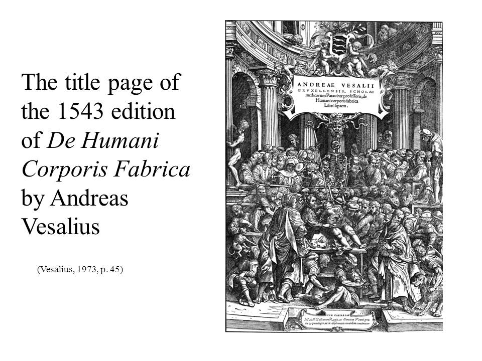 The title page of the 1543 edition of De Humani Corporis Fabrica by Andreas Vesalius