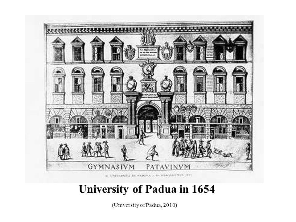 University of Padua in 1654 (University of Padua, 2010) 37