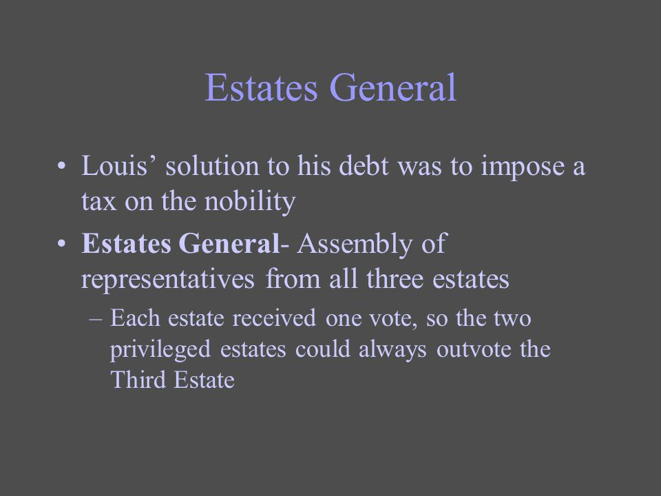 Estates General Louis' solution to his debt was to impose a tax on the nobility. Estates General- Assembly of representatives from all three estates.