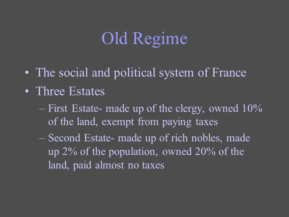 Old Regime The social and political system of France Three Estates