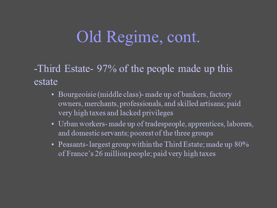 Old Regime, cont. -Third Estate- 97% of the people made up this estate