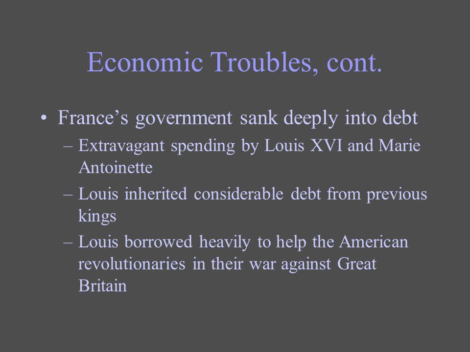 Economic Troubles, cont.