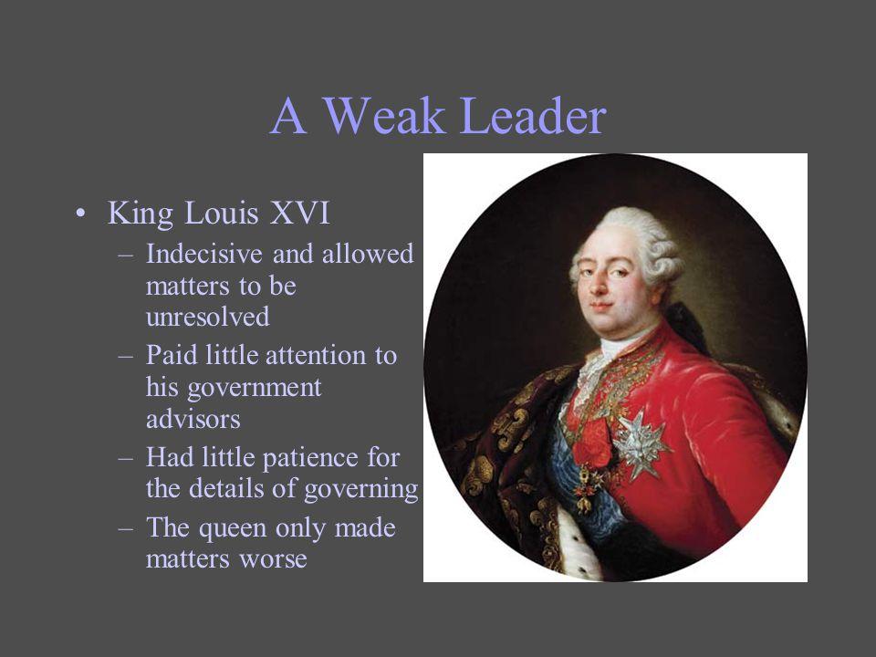A Weak Leader King Louis XVI