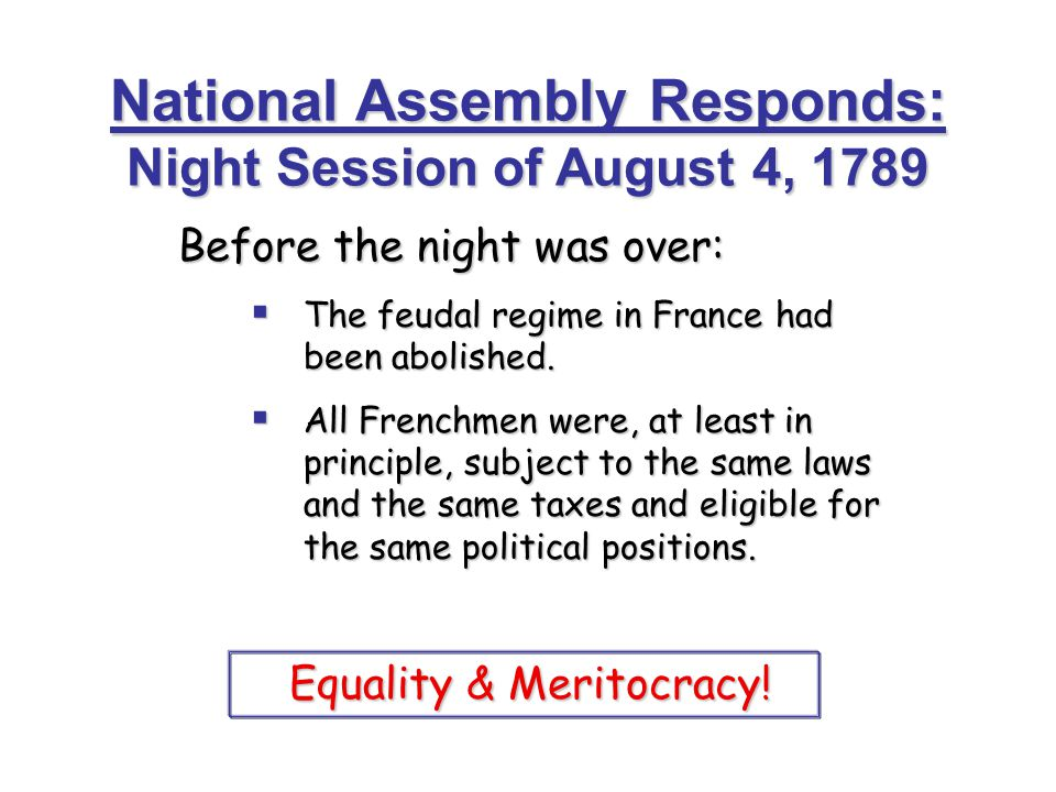 National Assembly Responds: Night Session of August 4, 1789