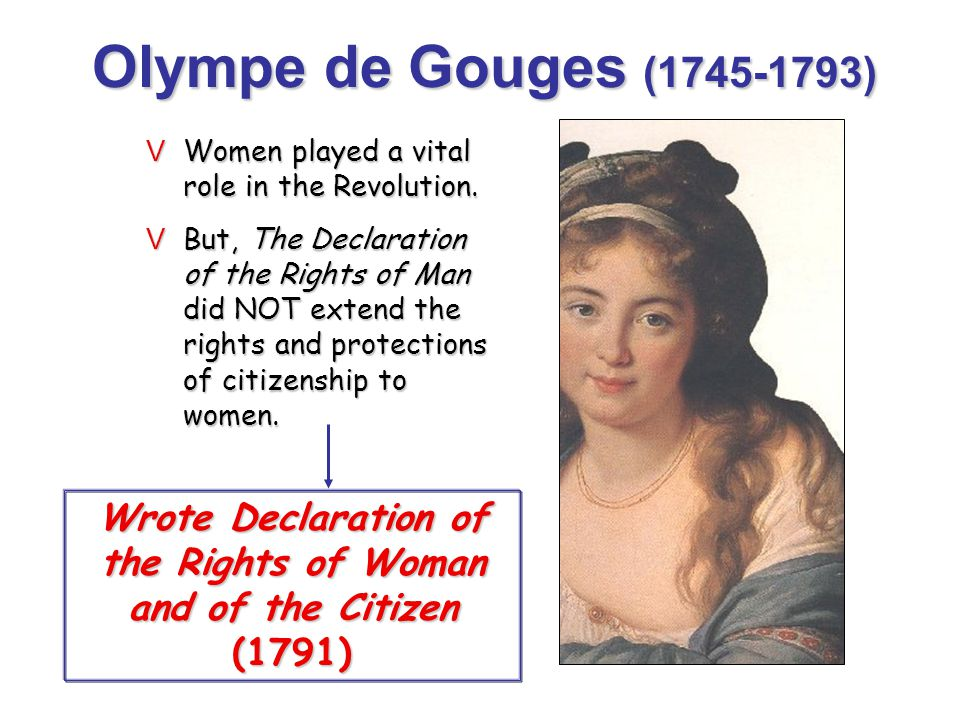 Wrote Declaration of the Rights of Woman and of the Citizen (1791)