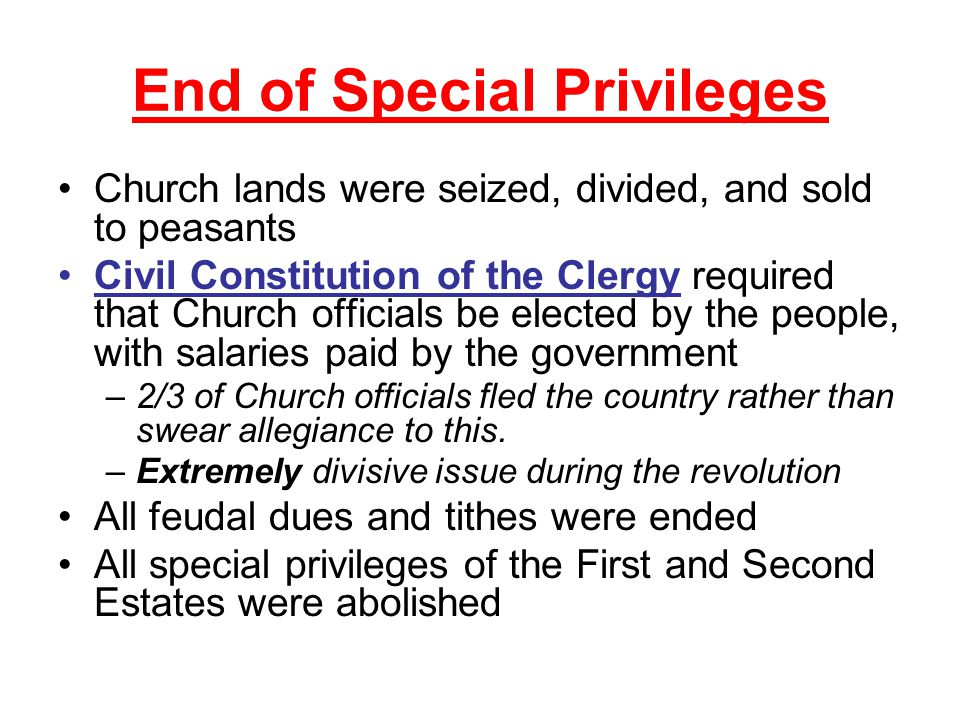 End of Special Privileges