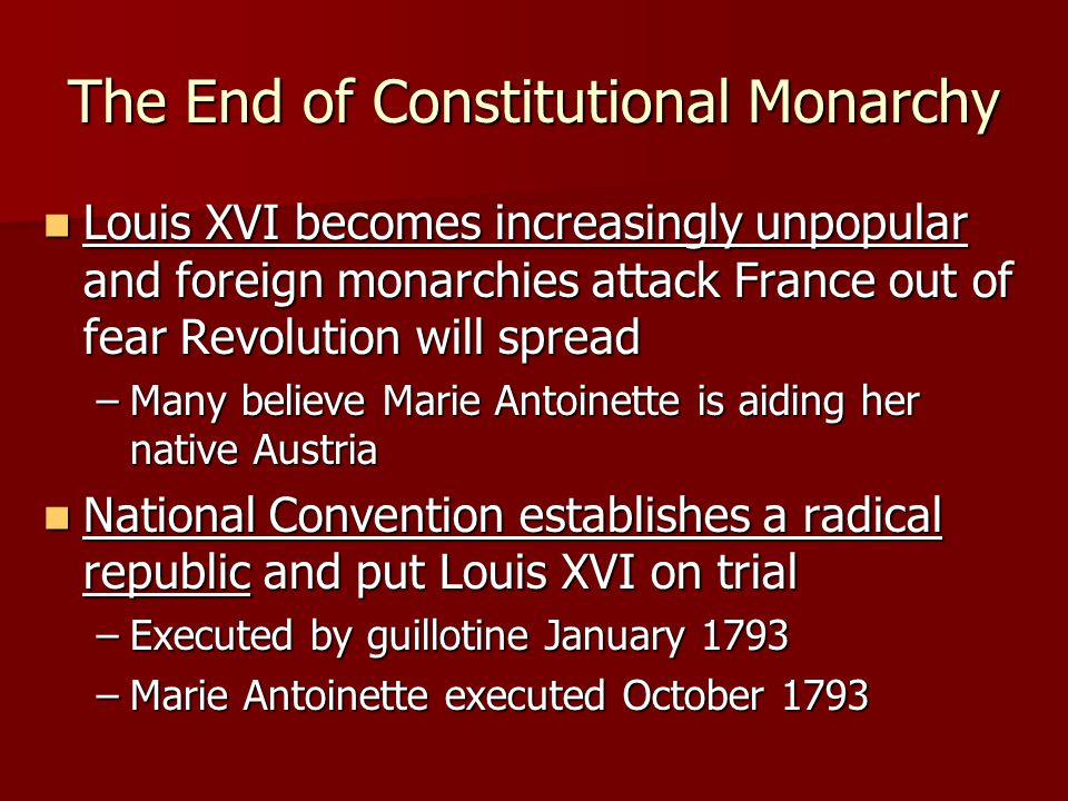 The End of Constitutional Monarchy