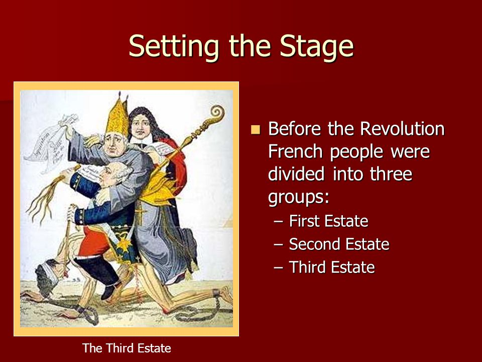 Setting the Stage Before the Revolution French people were divided into three groups: First Estate.
