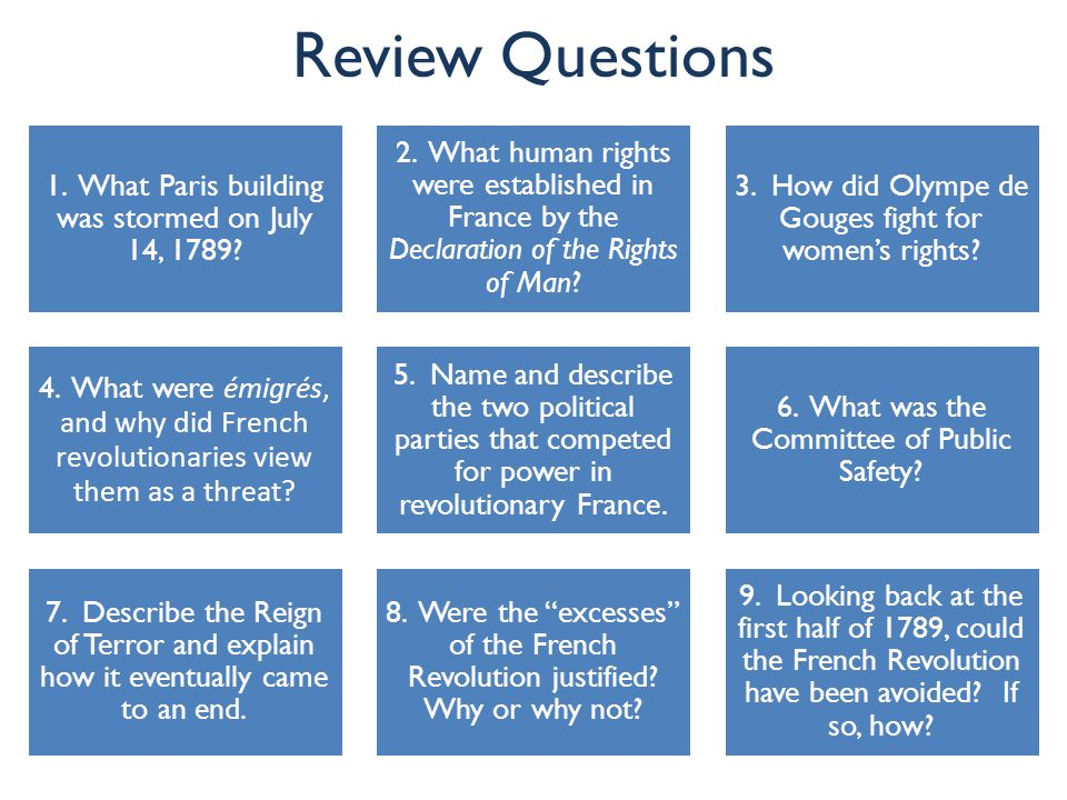 Review Questions 1. What Paris building was stormed on July 14, 1789