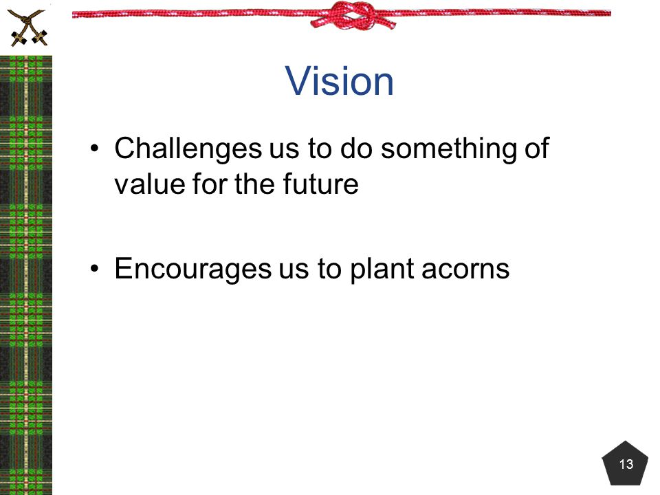 Vision Challenges us to do something of value for the future