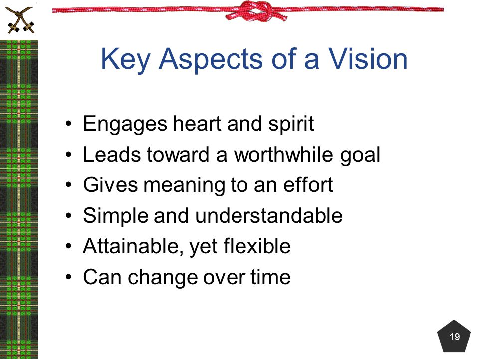 Key Aspects of a Vision Engages heart and spirit