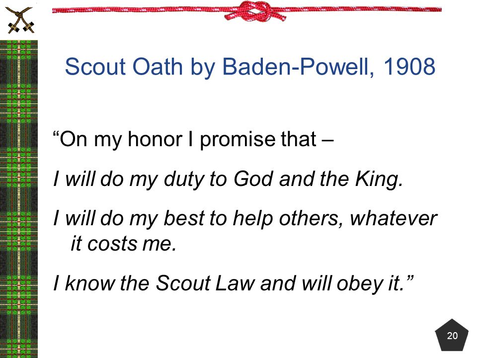 Scout Oath by Baden-Powell, 1908