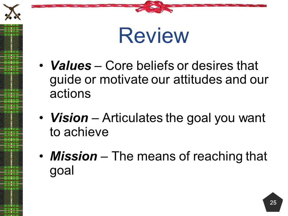 Review Values – Core beliefs or desires that guide or motivate our attitudes and our actions. Vision – Articulates the goal you want to achieve.