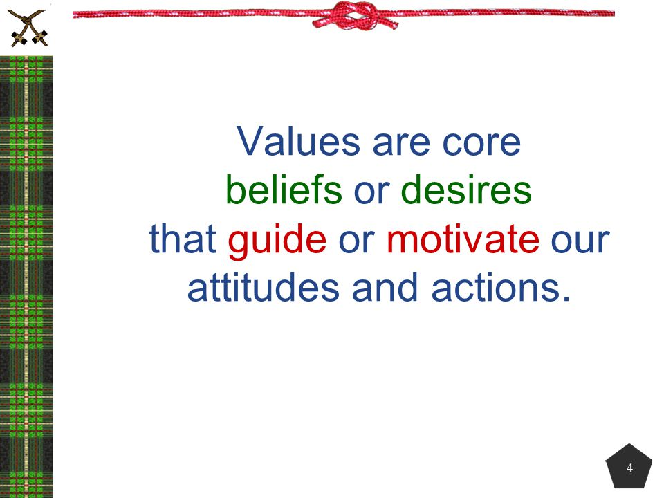 Values are core beliefs or desires that guide or motivate our attitudes and actions.