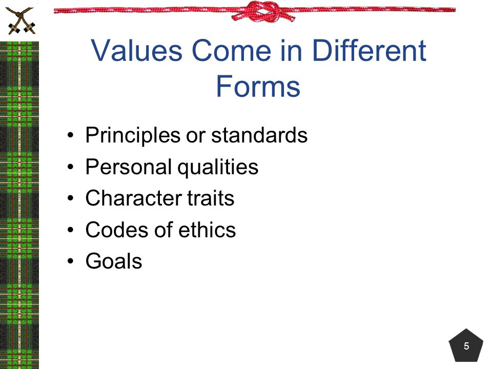 Values Come in Different Forms