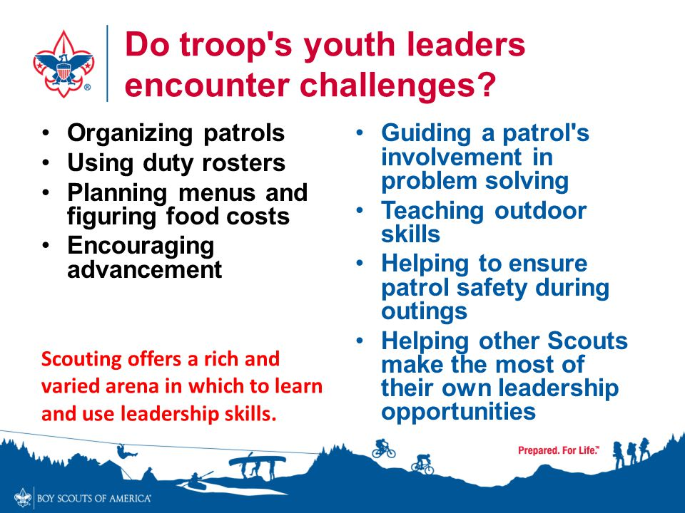 Do troop s youth leaders encounter challenges