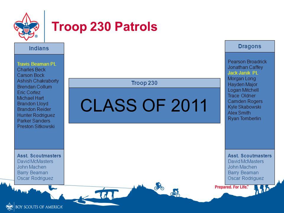 CLASS OF 2011 Troop 230 Patrols Dragons Indians Troop 230