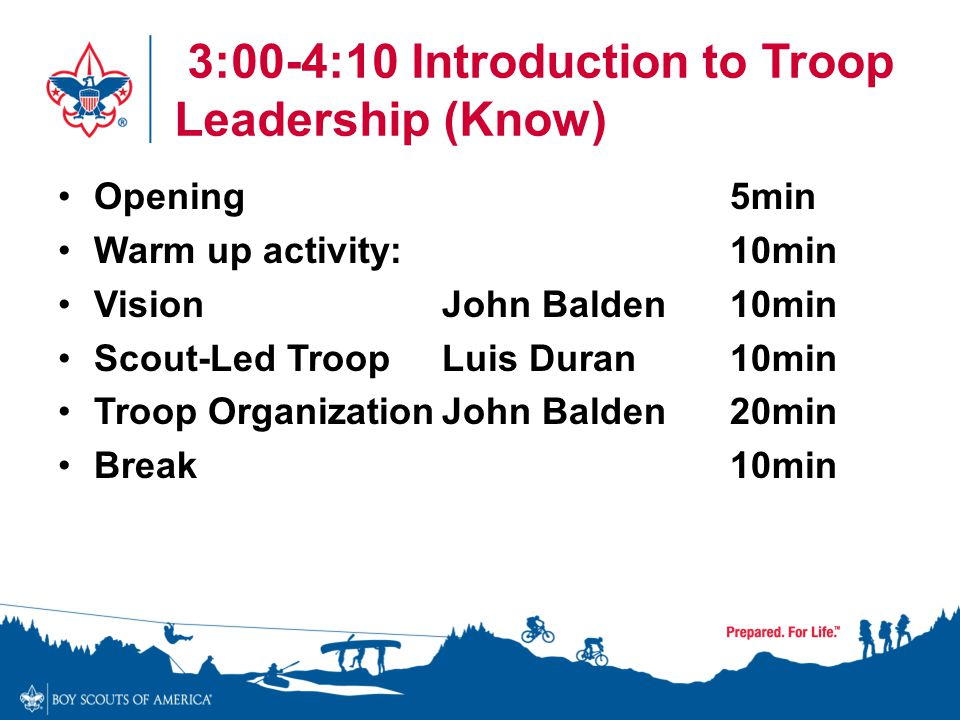 3:00-4:10 Introduction to Troop Leadership (Know)