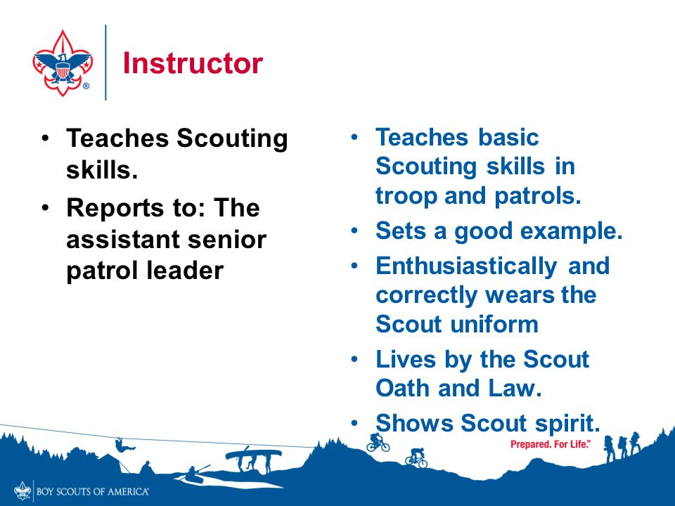 Instructor Teaches Scouting skills.