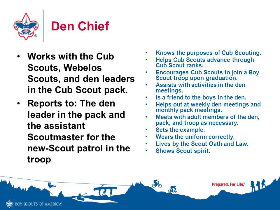 Den Chief Works with the Cub Scouts, Webelos Scouts, and den leaders in the Cub Scout pack.