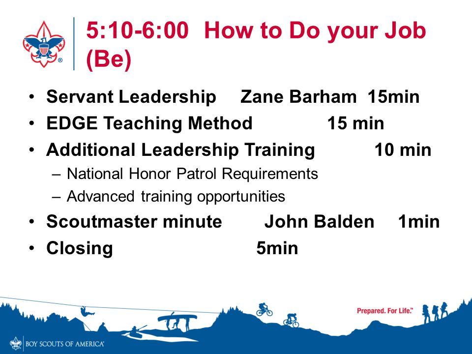 5:10-6:00 How to Do your Job (Be)