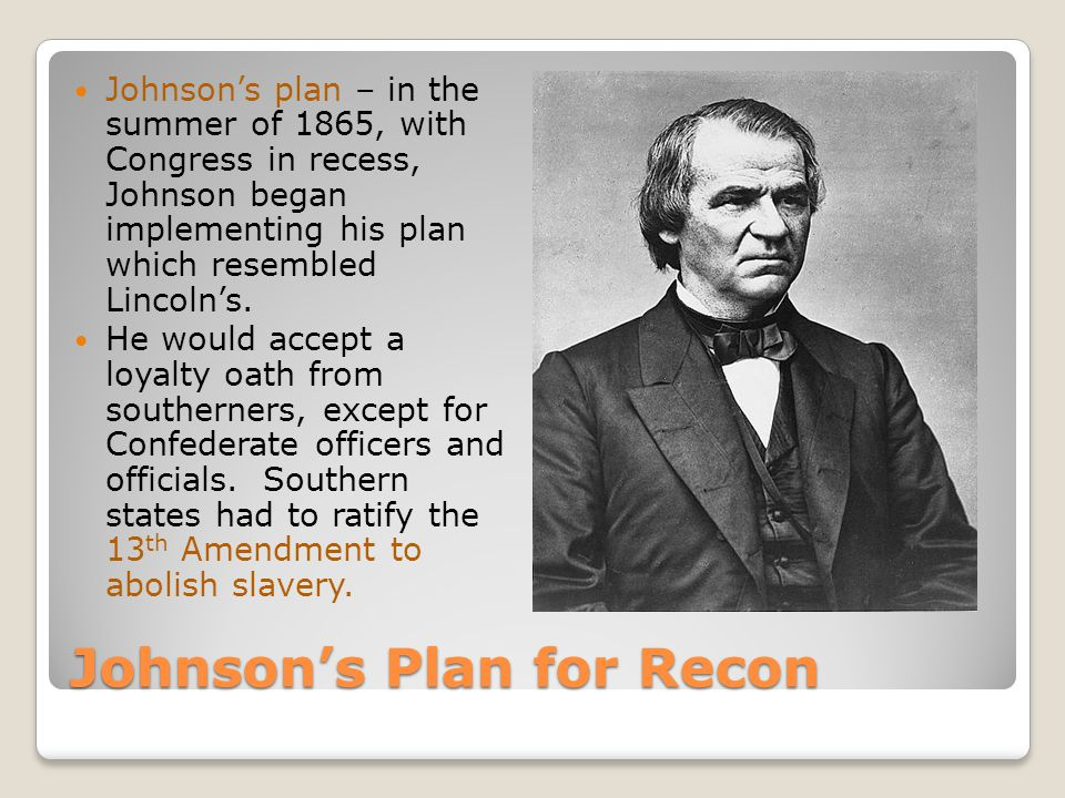 Johnson's Plan for Recon