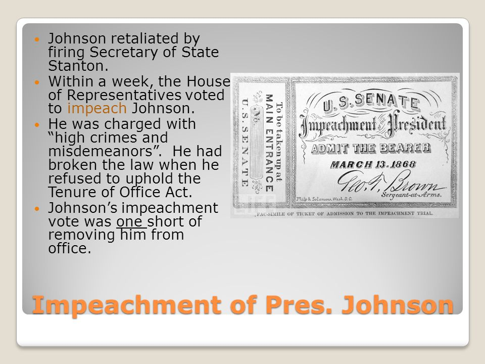 Impeachment of Pres. Johnson