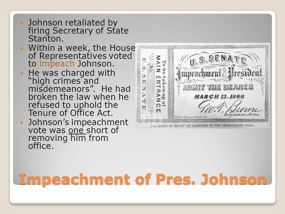 Impeachment of Pres. Johnson