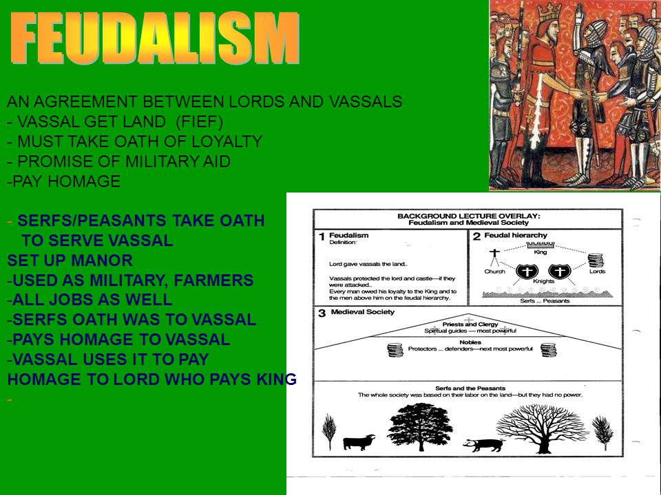 FEUDALISM AN AGREEMENT BETWEEN LORDS AND VASSALS