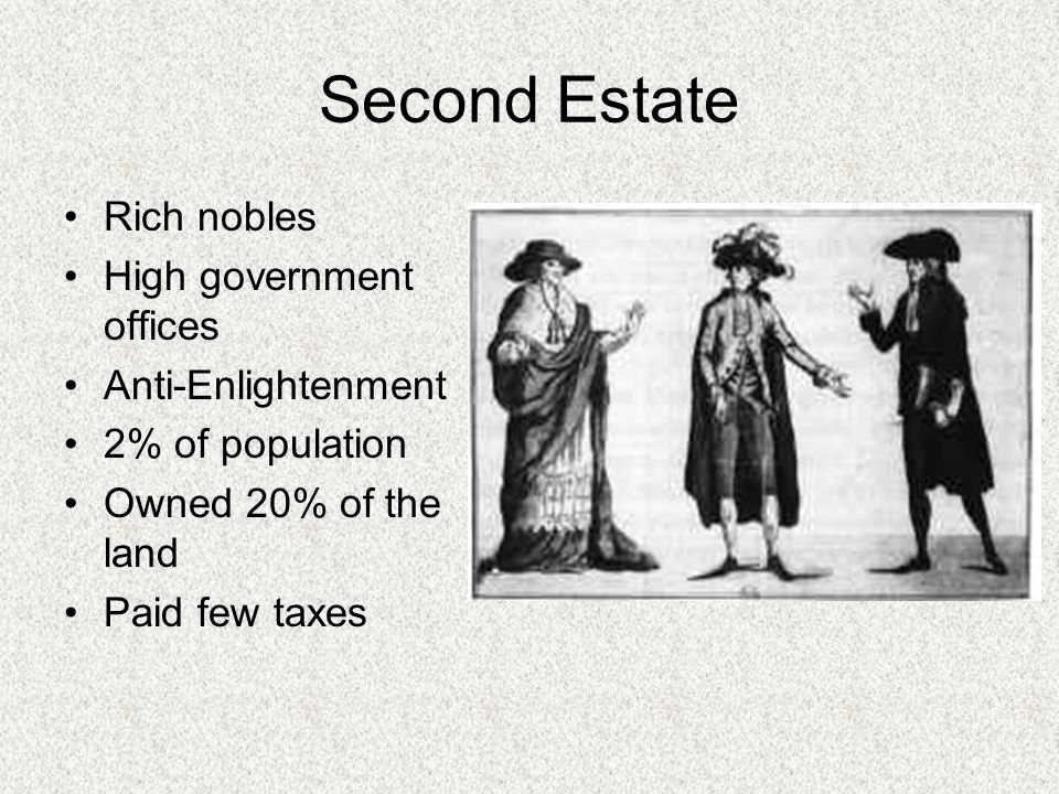 Second Estate Rich nobles High government offices Anti-Enlightenment