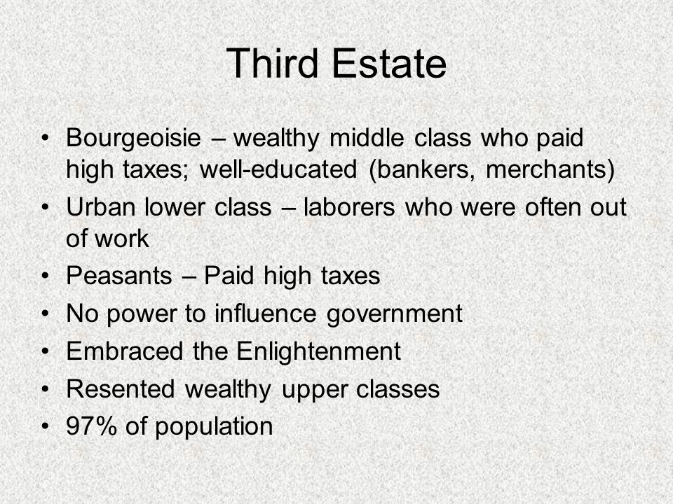 Third Estate Bourgeoisie – wealthy middle class who paid high taxes; well-educated (bankers, merchants)