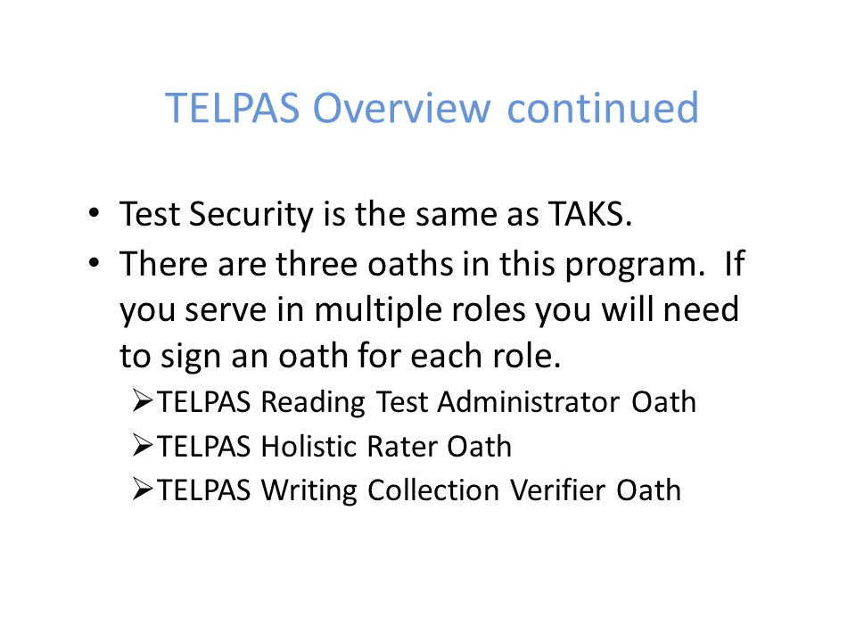 TELPAS Overview continued
