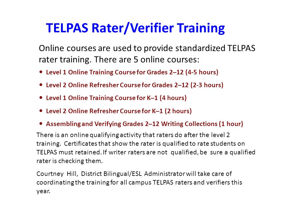 TELPAS Rater/Verifier Training