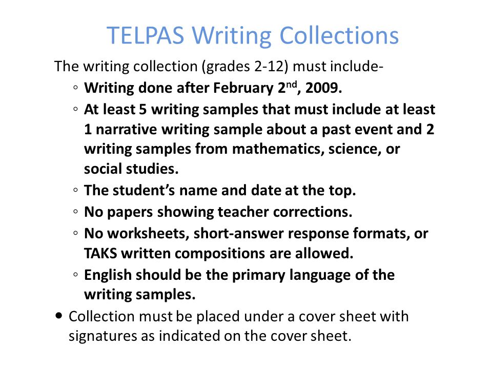 TELPAS Writing Collections