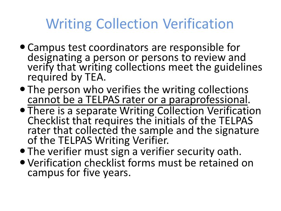Writing Collection Verification