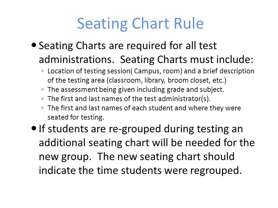 Seating Chart Rule Seating Charts are required for all test administrations. Seating Charts must include: