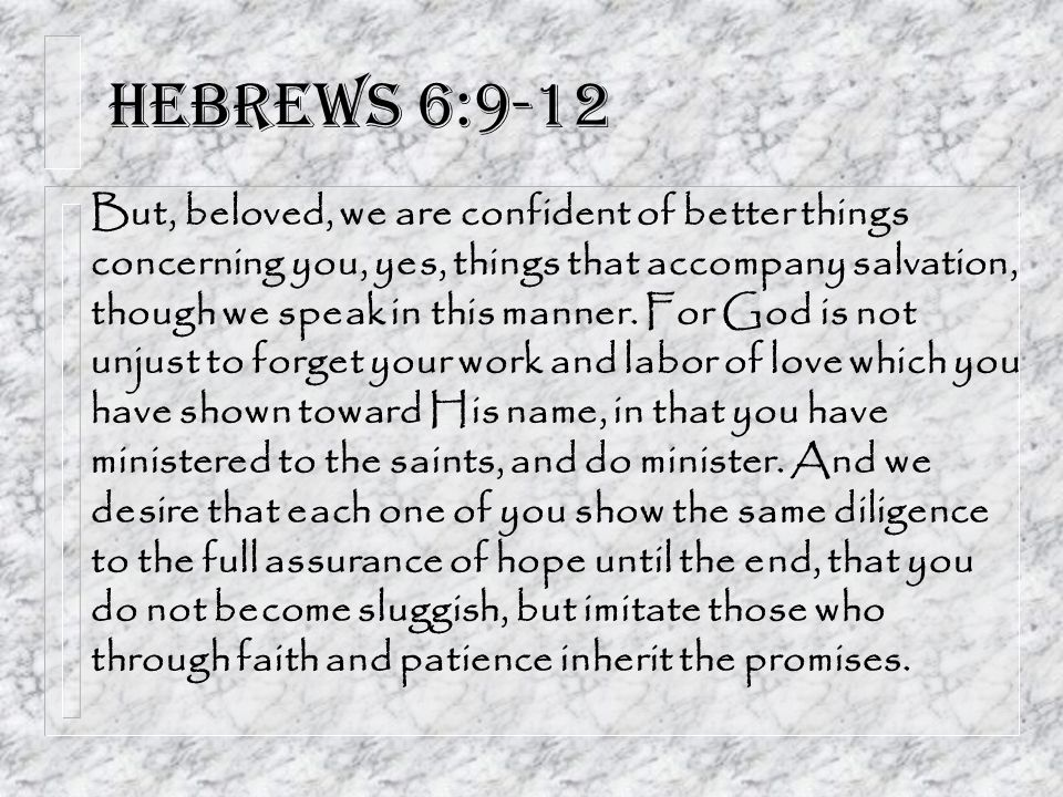 Hebrews 6:9-12