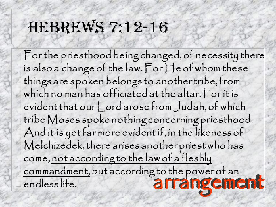 Hebrews 7:12-16 arrangement