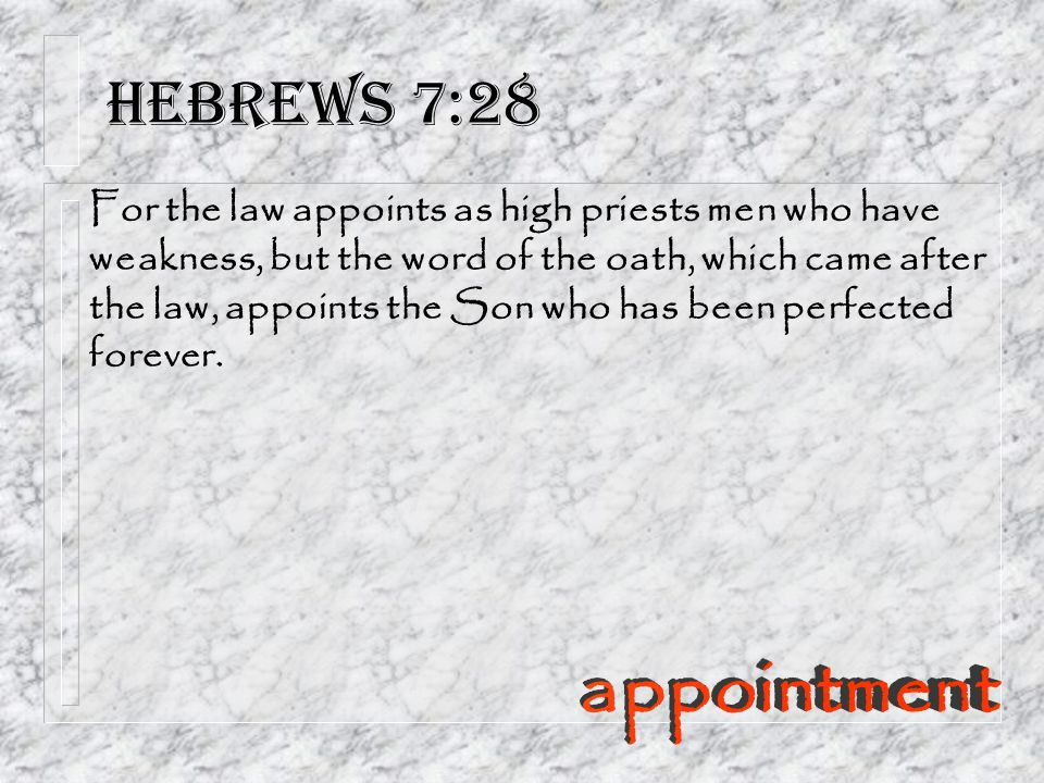Hebrews 7:28