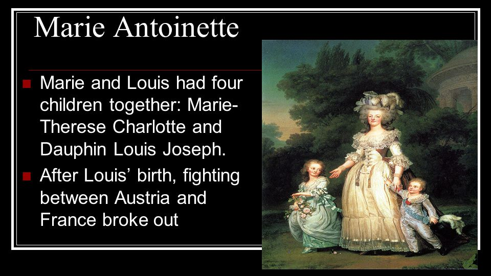 Marie Antoinette Marie and Louis had four children together: Marie-Therese Charlotte and Dauphin Louis Joseph.