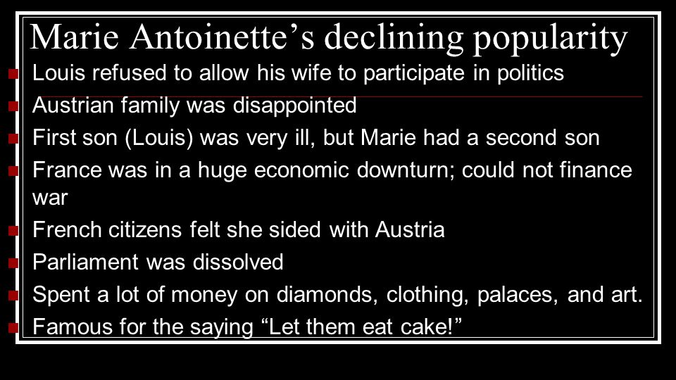 Marie Antoinette's declining popularity