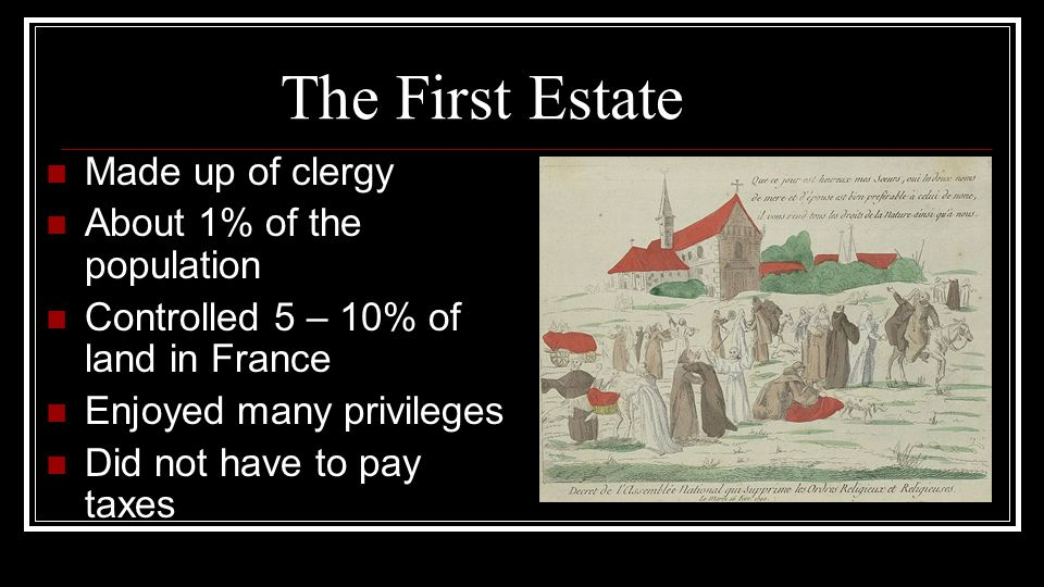 The First Estate Made up of clergy About 1% of the population
