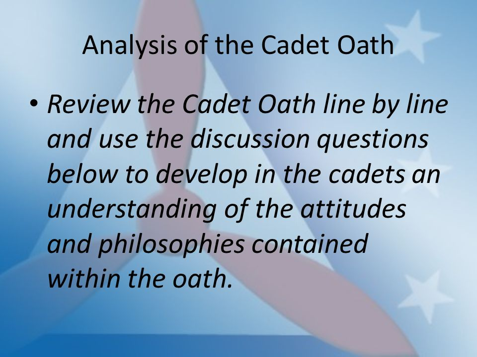 an analysis of soldiers oath The oath of office of the president of the united states is the oath or affirmation that the president of the united states takes after assuming the presidency but before he or she begins the execution of the office the wording of the oath is specified in article ii, section one, clause 8, of the.