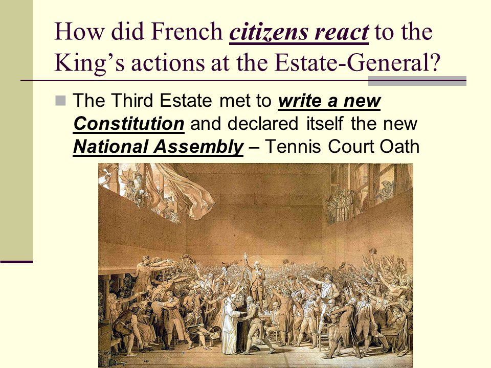 How did French citizens react to the King's actions at the Estate-General